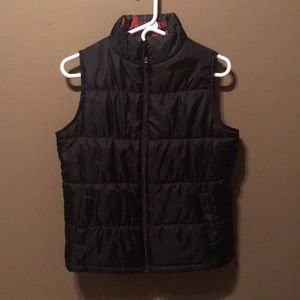 Reversible Black/Plaid Vest
